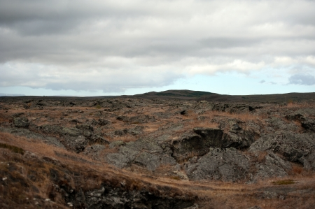 hekla: The north-eastern Iceland, overlooking an old lava field at Reykjahl�� at Lake Myvatn
