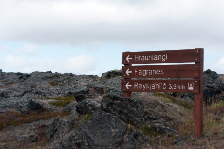 hekla: The north-eastern Iceland, local notice-plate in an old lava field at Reykjahl�� at Lake Myvatn