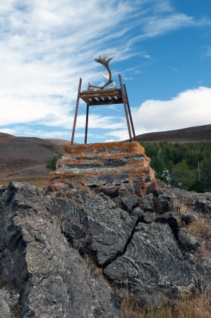 hekla: The north-eastern Iceland, with a chair aufgestzten reindeer antlers on the edge of an old lava field at Reykjahl�� at Lake Myvatn