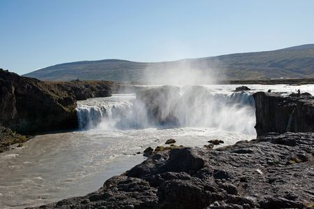 foaming: The north-eastern Iceland, the impressive because of its water masses Waterfall Godafoss  gods waterfall