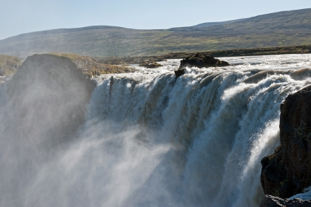 impressive: The north-eastern Iceland, the impressive because of its water masses Waterfall Godafoss  gods waterfall
