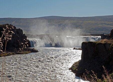 sediments: The north-eastern Iceland, the river Skjalfandafljot behind Godafoss  gods waterfall  Stock Photo