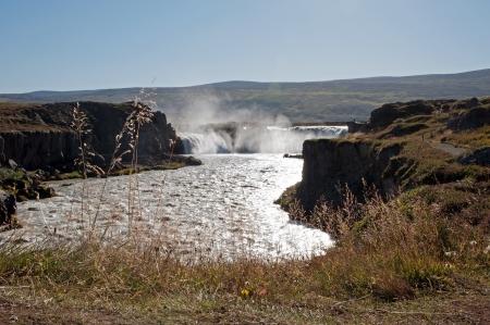 The north-eastern Iceland, the river Skjalfandafljot behind Godafoss  gods waterfall  Stock Photo
