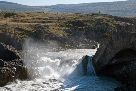 The north-eastern Iceland, the river Skjalfandafljot behind Godafoss  gods waterfall  photo