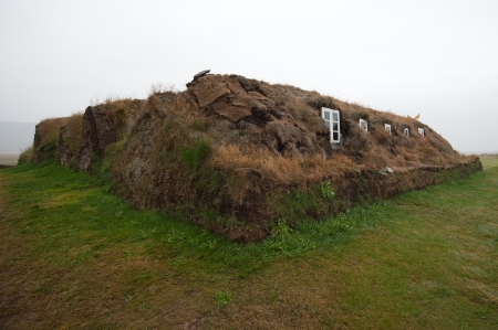 gabled house: The North of Iceland, Museumshof Glaumbeir from the rear