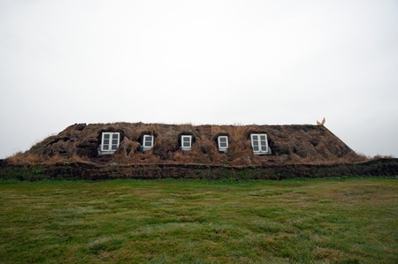 gabled: The North of Iceland, museum courtyard Glaumbeir from the side