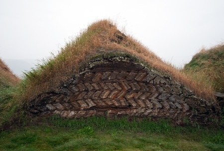 gabled house: The North of Iceland, Torfhaus at Museumshof Glaumbeir Stock Photo