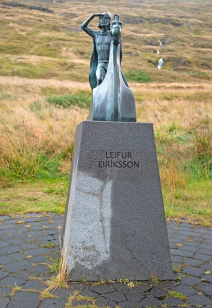 The North of Iceland, the statue of Leif Eriksson, the actual discoverer of America, in Haukatal
