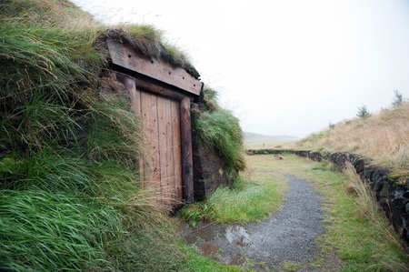 descubridor: El norte de Islandia, replica de la cancha supuesta Leif Eriksson, el descubridor real de Am�rica, en Haukatal