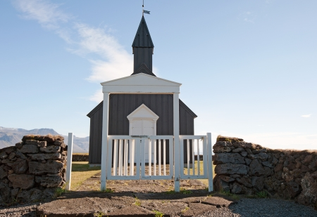 The West Islands, the Church of Budir on the south side of the Sneifellsnes