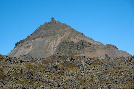 The Northwest Islands, overlooking the Stapafell, neighboring mountain of Sneifellsj&ouml,kull at the western end of the Sneifellsnes Stock Photo