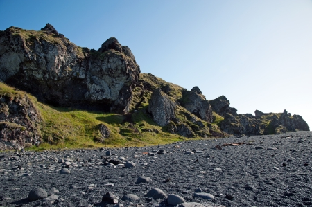 The west of Iceland, at the western end of the peninsula Sneifellsnes, the black beach of Djupalonssandur