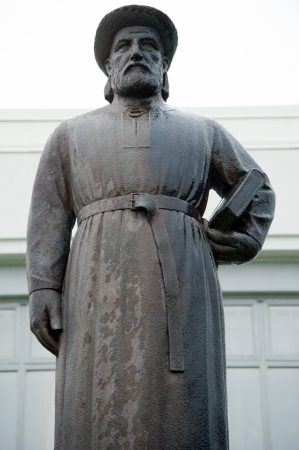 The north west of Iceland, statue of Snorri Sturluson, an Icelandic writer and scholar Stock Photo