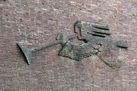 Outside view of the Dormagen Christ Church, angel with trumpet Stock Photo