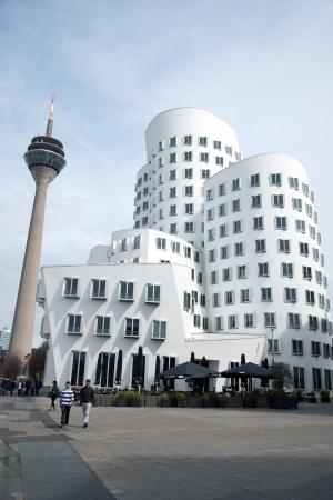 Dusseldorf media harbor, 2013, the Customs complex overlooking the Rhine Tower Editorial