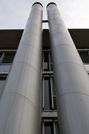 Dusseldorf media harbor, exhaust and heating pipes