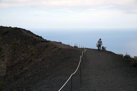 flatly: La Palma, 2013, on the caldera of the volcano San Antonio Stock Photo