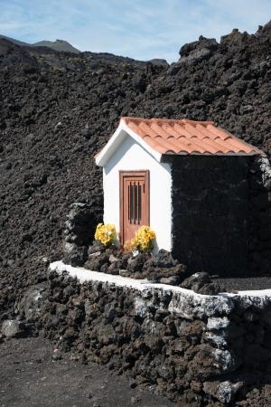 volcano slope: La Palma 2013, at the southern tip of La Palma, small hut on the slope of the volcano San Antonio