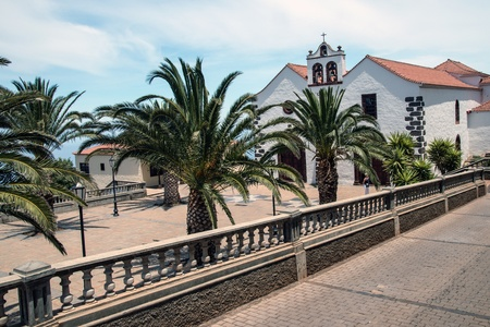 sante: Village square with church portal in Santo Domingo de Garafia in the north of La Palma