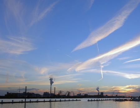 Amsterdam harbor in evening light over the NDSM wharf