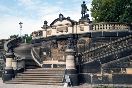 Dresden, staircase with monument of Gottfied Semper at the Georg-Treu-Platz, stairway to  Brühl
