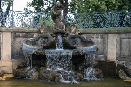 Dresden, dolphin fountain in the Brühl Stock Photo