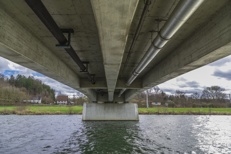 soest: Seen bridge over the Ruhr in Wickede, from below Stock Photo
