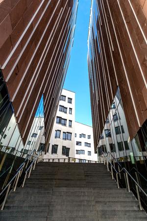 Hamburg, harbor city, stairway on Sumatra office, overseas boulevard