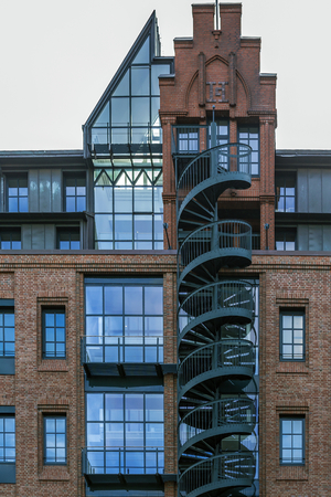 Hamburg, harbor city, in the warehouse district, memory with spiral staircase