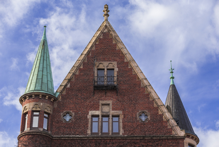 Hamburg, harbor city, in the warehouse district, gable wall with towers Editorial