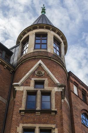 Hamburg, harbor city, in the warehouse district, Tower near the Neuerwegs Bridge Editorial