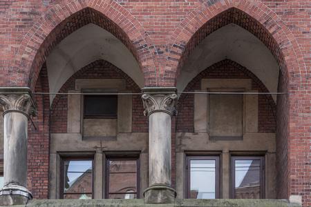Hamburg, harbor city, in the warehouse district, Balcony and Arcade near the Neuerwegs-Bridge Stock Photo