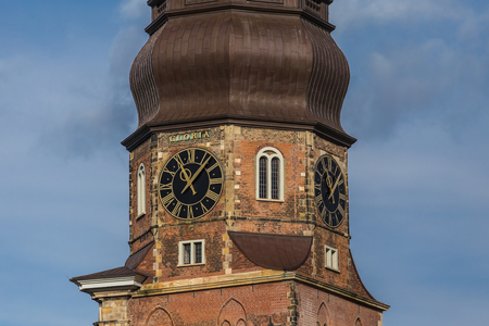 Hamburg, harbor city, in the warehouse district, church tower of St  Catherine, as seen from the Neuerwegs bridge from