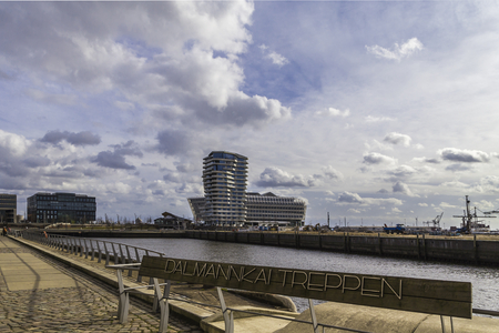 Port of Hamburg, looking at Dalmannkai along the Unilever Centre with the Marco Polo Tower