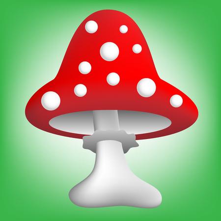 toadstool: vector illustration of cartoon red toadstool over green background Illustration