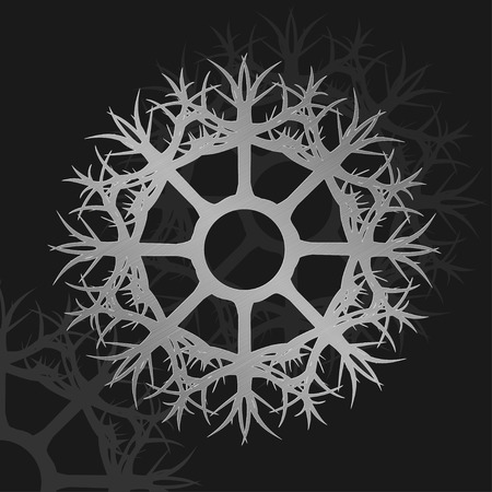 traditional silver wallpaper: Vector illustration of silver wheel metallic ornament Illustration