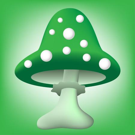 toadstool: vector illustration of cartoon green toadstool over green background Illustration