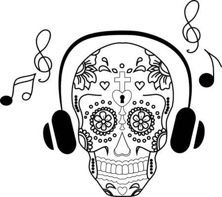 love song: The ghost stripes skull. For use in art. vector skulls love song