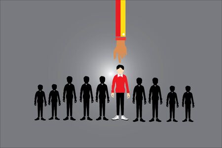 notable: The most notable men And only the best are selected, the man index, key man, business success concept Illustration