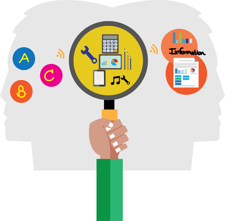 input: Data Input Process to Information idea Illustration