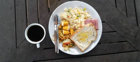 kopitiam: breakfast, coffee, bread, toast, rice Stock Photo