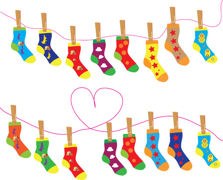 Christmas vector sign, various socks Иллюстрация
