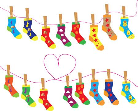 Kerst vector teken, verschillende sokken