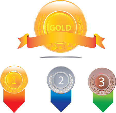 gold silver: Gold silver and bronze medals, medal badge Illustration