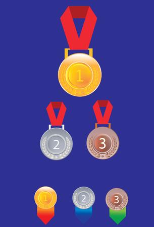 silver medal: Gold silver and bronze medals, medal badge Illustration