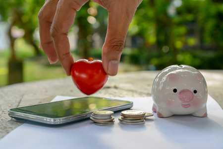 piggy save money on hand, save money Banco de Imagens