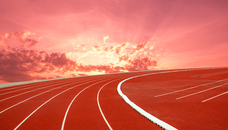 Running track in the sunrise Banco de Imagens - 120741021