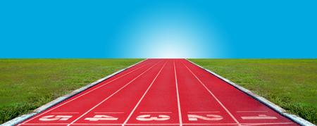 Running track in the sunrise Banco de Imagens - 120741030