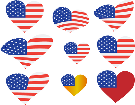 set of american flag icons Banco de Imagens - 120741151