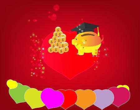 pigy save money, valentine day happy Ilustração
